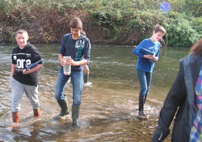 Enfants étudiant la mare